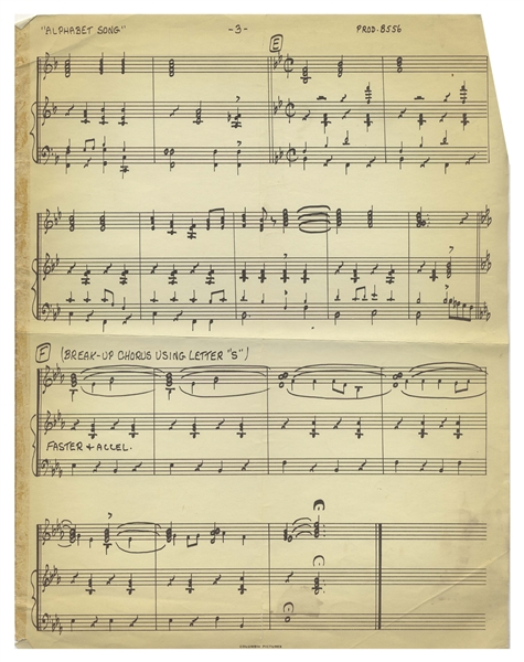 Sheet Music for ''Swingin' the Alphabet'', Including the Lyrics Performed by ''3 Girls'' -- 16 Scores Total for Lyrics & Instruments -- Each Runs 2-3pp., Very Good Condition