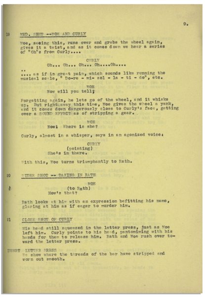 Moe Howard's 39pp. ''Second Draft'' Script Dated October 1935 for The Three Stooges Film ''Spook Movie Maniacs'', Working Title ''G-A-G Men'' -- Stapled for Binding, Very Good Condition