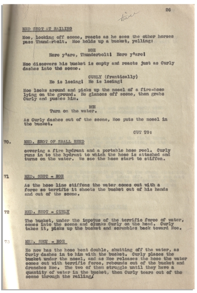 Moe Howard's 30pp. Script Dated April 1937 for The Three Stooges Film ''Playing the Ponies'' -- With Numerous Annotations in Moe's Hand -- Bound by Staples, Very Good Condition