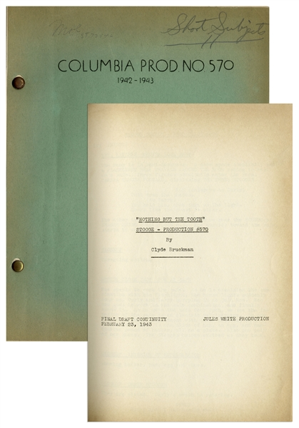 Moe Howard's 30pp. Script Dated February 1943 for The Three Stooges Film ''I Can Hardly Wait'' -- Very Good Condition