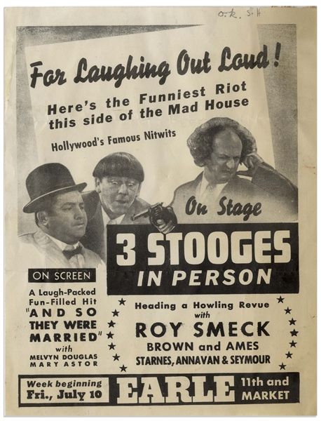 ''3 Stooges In Person'' Handbill From 1936 -- Measures 7'' x 9.25'' -- Fold & Some Toning to Right Side, Very Good Condition