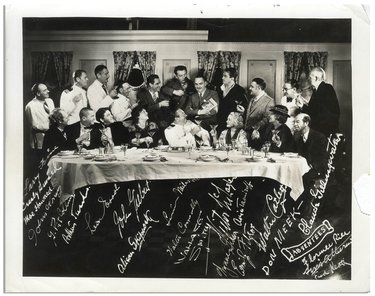Lot of 10 Photos From the 1930s -- Mostly 5 x 4 Candid Shots of Moe, Larry & Curly Backstage & Hamming It Up -- One 10 x 8 Photo of The Captain Hates the Sea With Printed Signatures -- Very Good