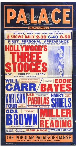 12.5 x 24 Poster From June 1939 Advertising The Three Stooges Show at the Blackpool Palace in England -- Curly Misspelled as Curley
