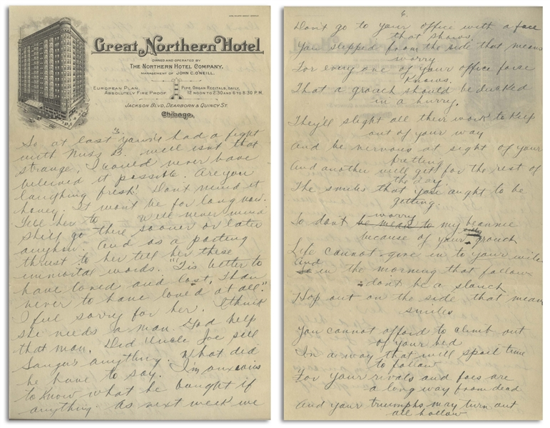 Moe Howard Handwritten Poem & Partial Letter to Helen, Circa 1924 -- 2pp. on 6'' x 9.5'' Sheet of Chicago Hotel Stationery, Plus Accompanying Envelope -- Very Good