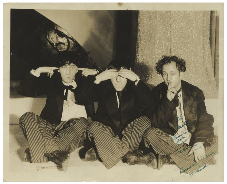 Moe Howard Signed Three Wise Monkeys Photo, Circa 1931 -- Moe Inscribes in Green Ink, ''To Faith / Please don't lose Faith in us / Howard, Fine & Howard'' -- 10'' x 8'' Glossy Is Very Good