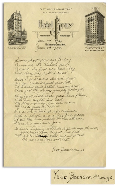Moe Howard 1932 Autograph Poem Signed ''Beansie'' to His Wife on Their 7th Wedding Anniversary -- Measures 5.75'' x 9.25'' on Hotel Bray Stationery From Kansas City -- Very Good