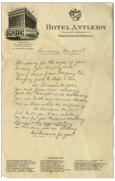 Moe Howard Handwritten Poem to His Wife Entitled ''Lonesome For You!'' -- On 6'' x 9.5'' Hotel Antlers Stationery From Indianapolis, Circa 1930s -- Very Good