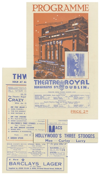 Dublin's ''Theatre Royal'' Programme Advertising The Three Stooges on Its Cover, Where They Debuted on 26 June 1939 -- 4pp. Including Covers Measures 6.25'' x 10'' Folded -- Very Good