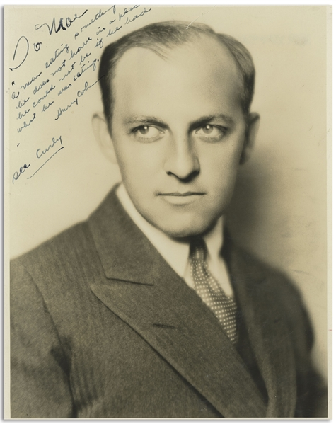 Columbia President Harry Cohn 8'' x 10'' Glossy Photo Signed & Inscribed to Moe Howard in 1934 -- Cohn's Witty Inscription Ends With ''see Curly'' -- Creasing at Top, Very Good Condition