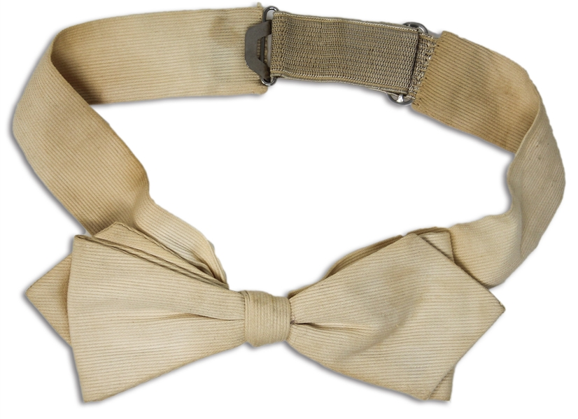 Moe Howard's White Bowtie, Worn on His Wedding Day to Helen on 7 June 1925 -- Clip-on Bowtie With Adjustable Elastic Band in Back -- Some Age Discoloration, Otherwise Near Fine