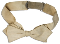 Moe Howards White Bowtie, Worn on His Wedding Day to Helen on 7 June 1925 -- Clip-on Bowtie With Adjustable Elastic Band in Back -- Some Age Discoloration, Otherwise Near Fine