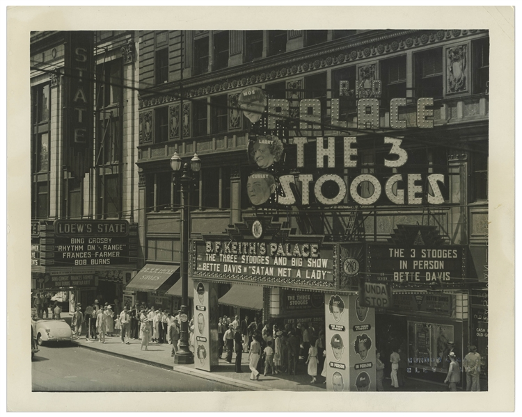 10 x 8 Glossy Photo of the RKO Place Theater in Cleveland, With The 3 Stooges Marquee, Promoting Their 1936 Stage Performance -- Very Good Condition