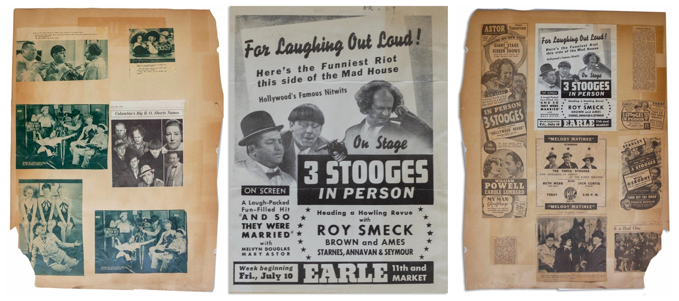 1936 Advert Measuring 7'' x 9'' for a 3 Stooges Show, Glued to 18'' x 24'' Scrapbook Sheet of Moe's News Clippings From 1936 -- Chipping & Toning, Overall Good