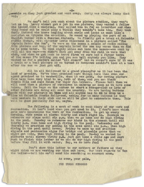Very Funny Letter, Likely Template for a Fan Club Letter, Dated July 1934 -- The Three Stooges Tell Their Fans What Hollywood Is Like -- 2pp., 8.5 x 11 -- Chipping to Sides, Overall Very Good