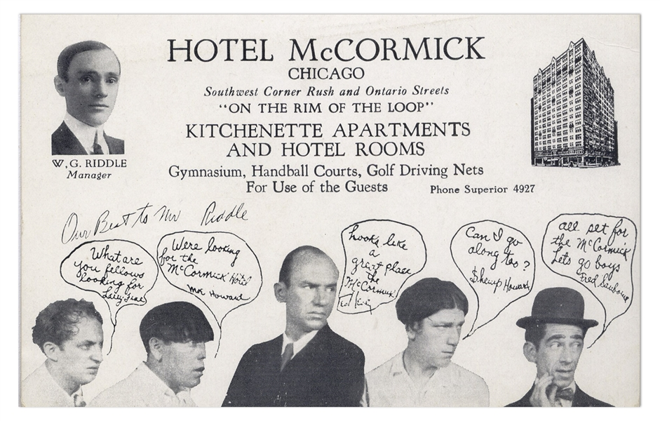 ''A Night in Venice'' Era Postcard, Circa 1929, Featuring Ted Healy With Moe, Larry, Shemp & Fred Sanborn -- 5.5'' x 3.5'' Postcard Promotes the Hotel McCormick in Chicago -- Near Fine