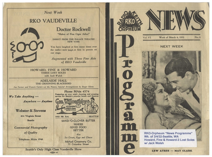 March 1932 ''Coming Events'' Program for the RKO-Orpheum in Seattle That Debuted Howard, Fine & Howard ''Three Lost Soles'', Advertised on Back Cover -- 6'' x 9'' -- Sticker on Front, Else Very Good