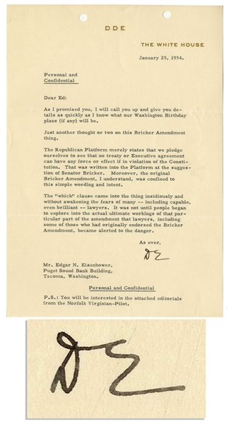 Eisenhower Letter Signed as President -- ''...The 'which' clause came into the thing insidiously and without awakening the fears of many -- including capable, even brilliant -- lawyers...''