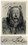 Scarce Bert Lahr Signed Photo as Cowardly Lion in 1939 The Wizard of Oz -- With PSA/DNA COA
