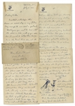 Rene Gagnon 1943 Autograph Letter Twice Signed -- With Detailed Sketch by Gagnon of Himself as an M.P., Guarding a Prisoner