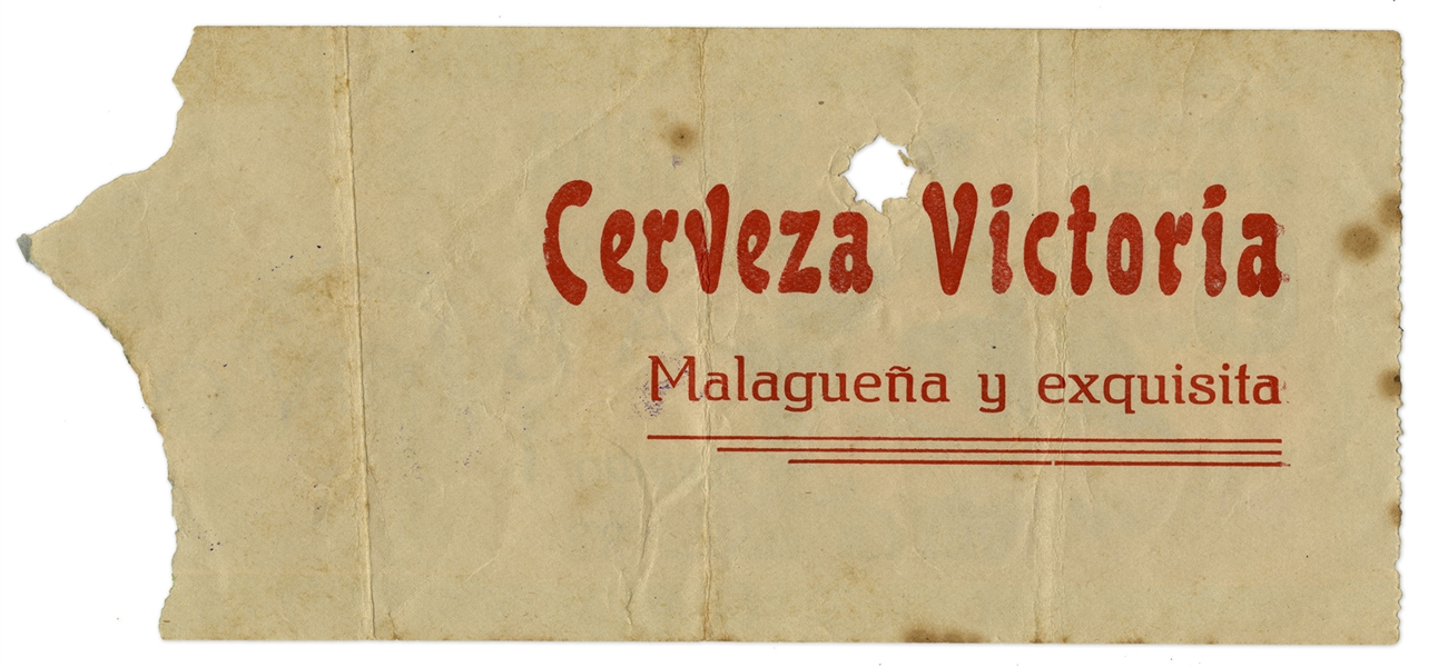 Ernest Hemingway's Own Bullfighting Ticket From 6 August 1959 -- From the ''Plaza de Toros'' in Malaga, Spain -- Hemingway Wrote About the Bullfights of 1959 in His Final Book