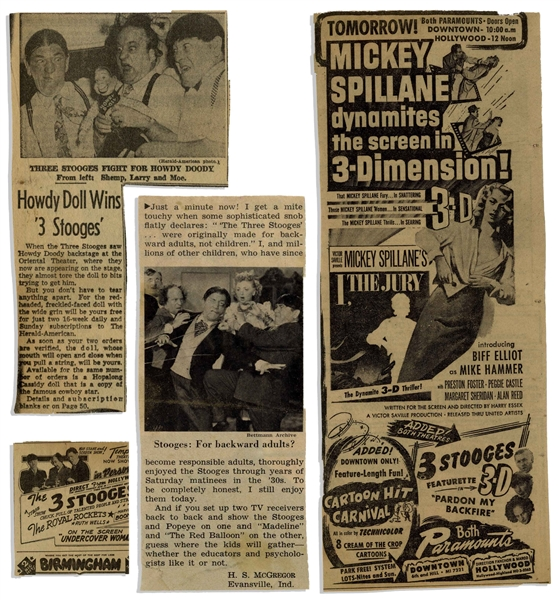 Over 3 Dozen Newspaper Clippings From Moe Howard's Scrapbook, From the Shemp Era Circa 1948 -- Includes 8'' x 11'' Flyer Promoting The Three Stooges Stage Shows -- Very Good Condition