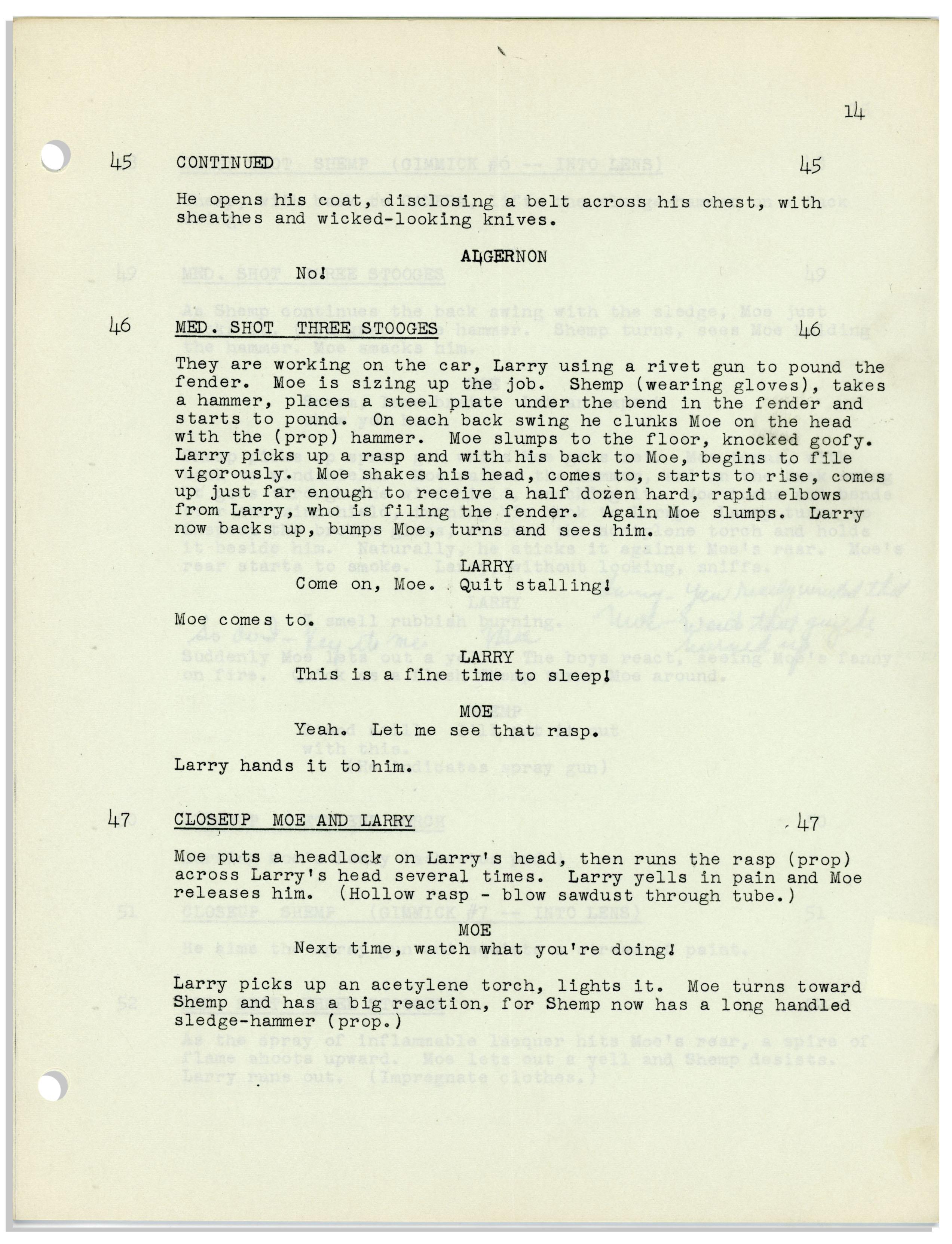 Lot Detail Moe Howards 22pp Script Dated June 1953 For