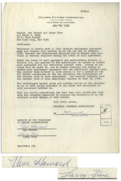 Moe Howard & Larry Fine Signed Agreement With Columbia Pictures, Dated 28 May 1956 After Shemp's Death -- Moe & Larry Agree to Extend Their Employment With Columbia -- 8.5 x 11, Near Fine