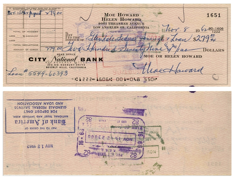 Moe Howard Lot of Two Checks Signed -- Dated 26 September 1960 Measuring 7'' x 3.25'', and 8 November 1962 Measuring 8.25'' x 3'' -- Very Good Condition