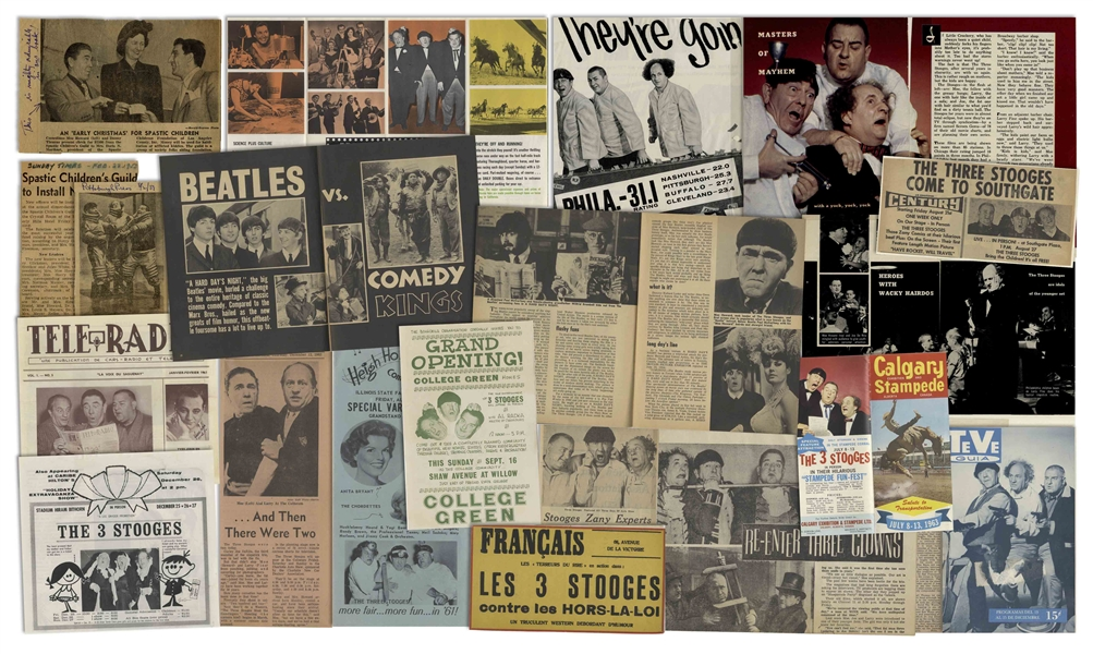 Lot of Three Binders With Over 225 Sleeves of Moe's Three Stooges News Clippings, Along With Programs & Adverts of Their Appearances, From the Curly Joe Era -- Some Notated by Moe -- Very Good Plus