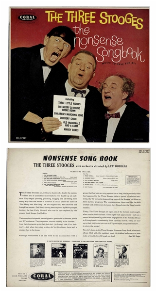 Lot of 11 Vinyl Records With Three Stooges Recordings for Children -- Circa 1960s With Curly Joe -- Plus Flyer Promoting Their Albums -- Not Played, But Albums Appear Very Good With Some Unopened