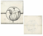 Dwight D. Eisenhower Sketch as President -- Eisenhower Draws an Intriguing Globe Sketch