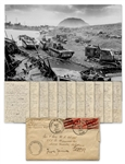 Extraordinary Letter by Alan Wood Describing Iwo Jima: ...When they raised a little flag on top of the Mountain the Marines on the beach cheered...a Marine came aboard asking for a larger flag...