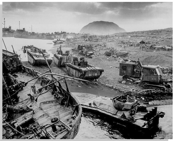 Extraordinary Letter by Alan Wood Describing Iwo Jima: ''...When they raised a little flag on top of the Mountain the Marines on the beach cheered...a Marine came aboard asking for a larger flag...''
