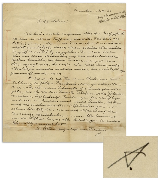 Albert Einstein Autograph Letter Signed From 1934 -- ''...All this is the result of the Hitler-insanity, which has completely ruined the lives of all those around me...''