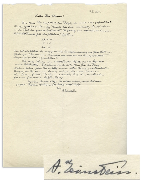 Albert Einstein Autograph Letter Signed ''A. Einstein'' With His Handwritten Equations -- ''...the theory...really does constitute immense progress...as an appendix of my little book on...