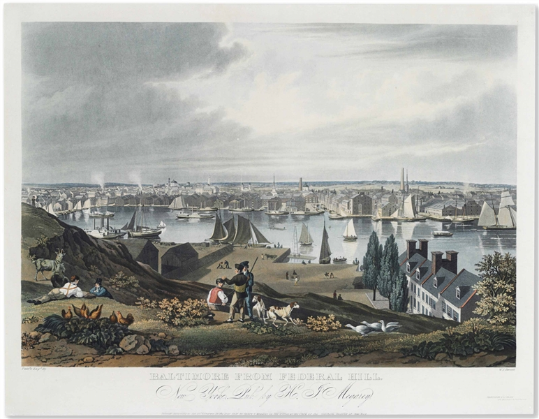 'Baltimore From Federal Hill'' Hand-Colored Folio Aquatint From 1831 by William James Bennett -- ''...Pronounced by judges to be the best print of the kind ever published in the United States...''
