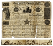 Republic of Texas Bond From 1841 Signed by David Burnet as Acting President