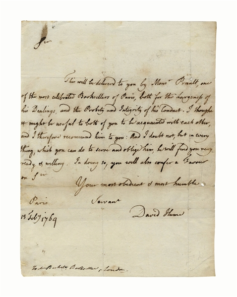 Scarce David Hume Autograph Letter Signed -- ''...one of the most celebrated Booksellers of Paris...''