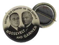 Franklin D. Roosevelt Photo Jugate Campaign Pin From 1932 -- Return Our Country to the People