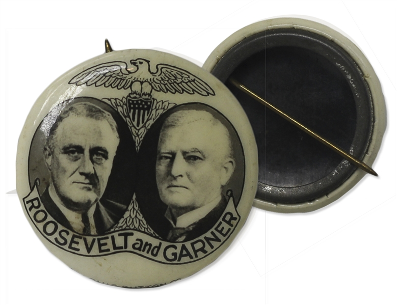 Franklin D. Roosevelt Photo Jugate Campaign Pin From Either 1932 or 1936