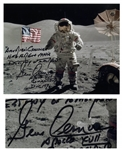 Gene Cernan Signed 10 x 8 Apollo 17 Photo With Handwritten Quote, Americas Challenge Has Forged Mans Destiny of Tomorrow