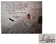 Gene Cernan Signed 20 x 16 Photo with Extensive Handwritten Quote -- Americas challenge of today has forged mans destiny of tomorrow