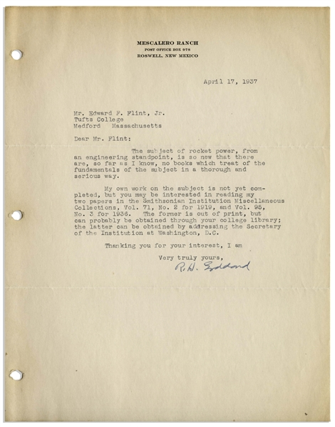 Scarce 1937 Letter Signed by Robert H. Goddard, the Father of Space Flight -- ''The subject of rocket power, from an engineering standpoint, is so new...'' -- With JSA COA