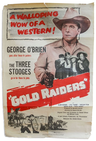 27'' x 41'' One-Sheet Poster for The Three Stooges ''Gold Raiders'', United Artists 1951 -- NSS# 51/524 -- Two Closed 2'' Tears & a 15'' Closed Tear, Else Very Good