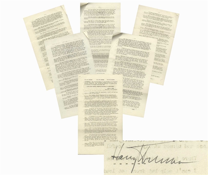 Harry Truman Signed Farewell Address From 1953 -- ''...The President...has to decide. He can't pass the buck to anybody...'' & ''...And always in the background there has been the atomic bomb...''