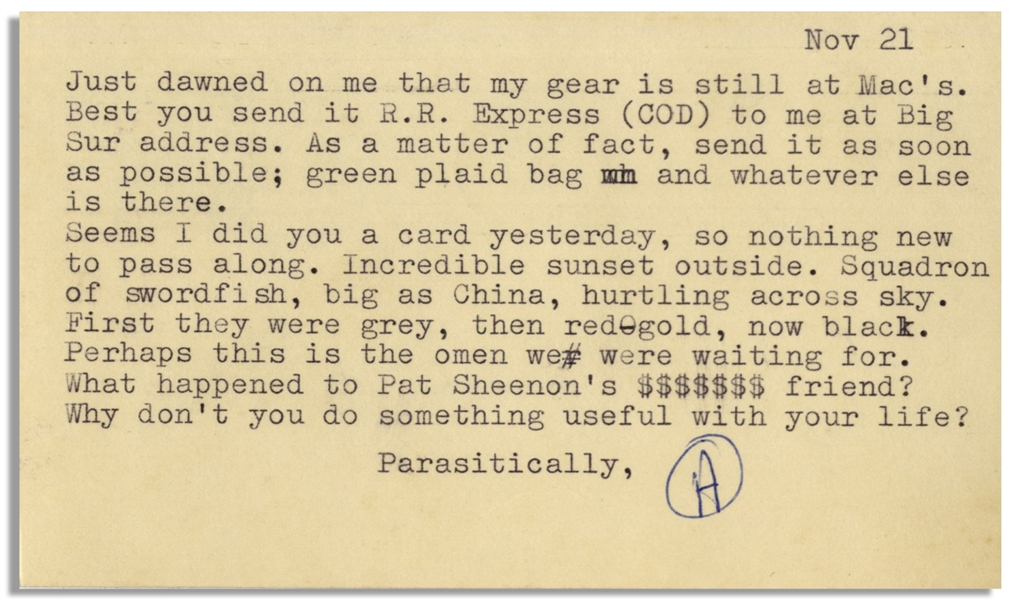 Hunter Thompson Letter Signed From Big Sur in 1960 -- ''...Incredible sunset outside...Perhaps this is the omen we were waiting for...''