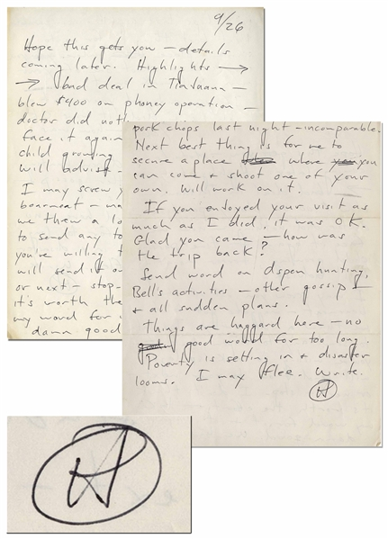 Hunter S. Thompson Autograph Letter Signed From 1961 -- ''...time passing, child growing, terror mounting...''