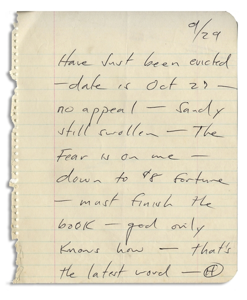 Hunter S. Thompson Autograph Letter Signed -- ''Have just been evicted...Sandy still swollen [pregnant] - The Fear is on me...''