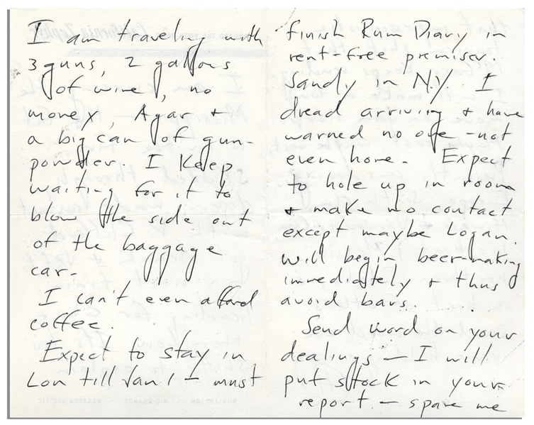 Hunter S. Thompson Autograph Letter Signed, Traveling Cross-Country -- ''...I am traveling with 3 guns, 2 gallons of wine, no money, Agar & a big can of gun-powder...must finish Rum Diary...''