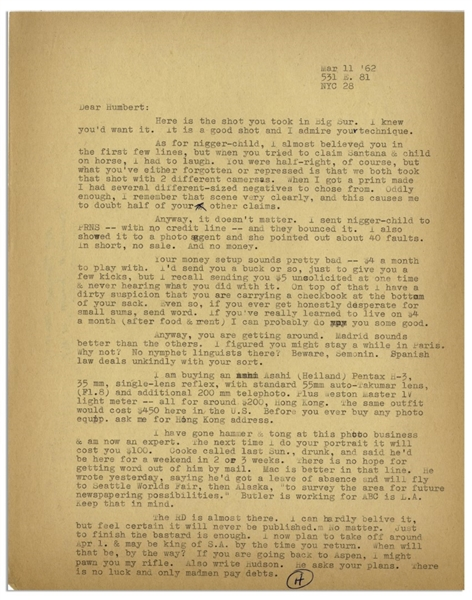 Hunter Thompson Letter Signed -- ''...The RD [Rum Diary] is almost there. I can hardly believe it, but feel certain it will never be published. No matter. Just to finish the bastard is enough...''